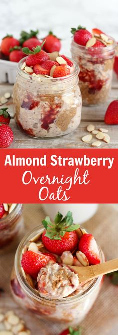 Almond Strawberry Overnight Oats - A recipe for creamy overnight oats flavored with almonds and strawberries. This healthy make-ahead breakfast is great for busy mornings.
