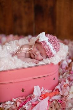 Baby Girl Crochet Hat Pink Beanie White Bow by BabiesBugsAndBees, $16.00