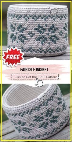 Nov 19, 2020 - crochet Fair Isle Basket free pattern - FREE Crochet Basket Pattern for Beginners. Click to Get the Pattern #Basket #crochetpattern #crochet Tapestry Crochet Patterns, Bag Pattern Free, Crochet Basket Pattern, Blanket Patterns, Crochet Gifts, Free Crochet, Crochet Bags, Crochet Ideas, Crochet Coin Purse