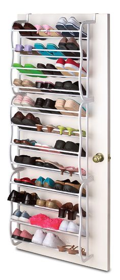 Over door shoe rack - holds 36 pairs! #product_design #organization