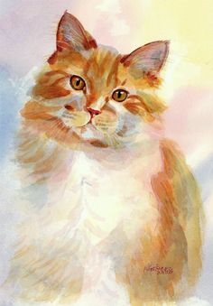 """Peaches and Cream"" - Original Fine Art for Sale - © Pamela Gatens watercolor orange cat Watercolor Cat, Watercolor Animals, Watercolor Paintings, Watercolors, Abstract Paintings, Animal Paintings, Animal Drawings, Indian Paintings, Photo Chat"