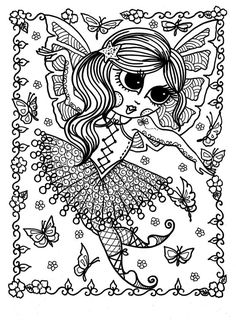5 Pages Downloadable Coloring Book Funky Fairy Ballerinas Adult Digita