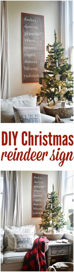20 Beautiful Rustic Christmas Decorations Ideas: DIY Christmas Reindeer Sign - Home Page Diy Christmas Reindeer, Merry Little Christmas, Noel Christmas, Christmas Signs, Rustic Christmas, Christmas Projects, Winter Christmas, All Things Christmas, Christmas Decorations