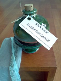 Egyptian Rose Body Oil Nile River Green by SiaNatural on Etsy, $20.00 #skincare #organic #natural #claypot #terracotta #castor oil #roses #love