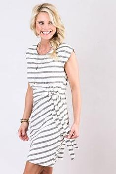 Love this dress!!!  Evereve Side-Tie Stripe Dress Mystree $68.00