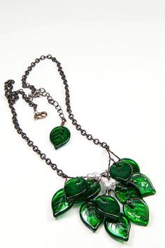 Green Beaded Necklace Nature Inspired by CherylParrottJewelry, $48.00