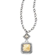 #750141. 18kt yellow gold square hammered center and oxidized sterling silver swirl design necklace.   Contact us for more information @ http://carmouchejewelerslaplace.com/