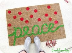 Welcome friends and family this year with a cheerful, hand painted holiday welcome mat! Heather shows you exactly how she made this over at Twenty Something — Christmas Typography Painted Rug… Christmas Rugs, Cheap Christmas, Christmas Porch, Outdoor Christmas Decorations, Christmas Love, Christmas Ideas, Xmas, Christmas Doormat, Christmas Countdown