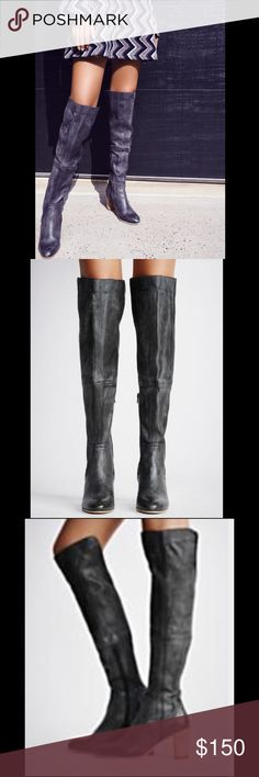 Free People Jack Over the Knee Boot, Black, Sz 36 Beautiful worn/washed black/dark grey color, tall, over-the-knee, with a wooden contrast heel and inner zip. Color currently sold out on Free People. Never worn; new with tags. Originally $198, listed at $150 Free People Shoes Over the Knee Boots