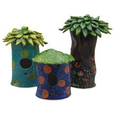 slab pot bird houses! too cute!