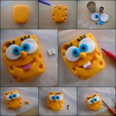 Let's Try kids ! Easy steps to make Bob L'éponge step by step with clay. #DIY #kidscrafts #HowTo #claycrafts