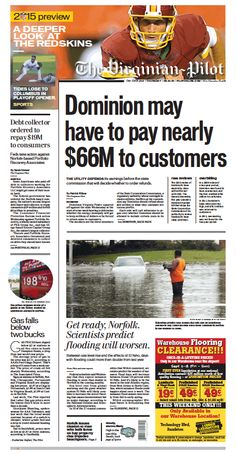 The Virginian-Pilot's front page for Thursday, Sept. 10, 2015.