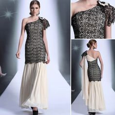 2014 New Arrival Zuhair Murad Winter Black One Shoulder Lace Chiffon Off the Shoulder Grecian Arabic Evening Designs Prom Dress(China (Mainland))