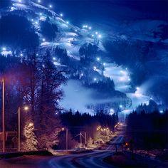 Ночь над Аляской ... Природа, пейзаж, между гор, ночь, огни