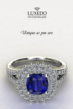 Gorgeous blue sapphire and diamonds white gold ring.★ Unique as you are ★ http://www.luxedogems.com/jewels/