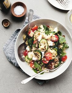 Couscous Zucchini Salad with Goat Cheese
