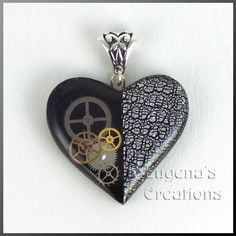 One-of-a-kind steampunk heart pendant, polymer, watch parts, resin, silver bail