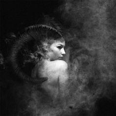 """Circus of Wonders"" series by Federico Bebber & Francesco Sambo. (photo, demon, with horns) Fantasy Women, Dark Fantasy Art, Dark Art, Dark Circus, Circus Art, Art Noir, Angels And Demons, Digital Art, Black And White"