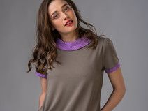 Blouse in gray-brown and light purple