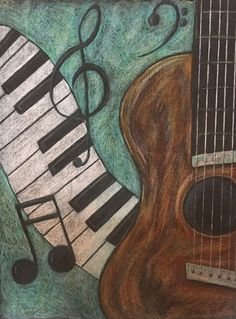 Musical, guitar and piano, Colored pencil illustration. Guitar Painting, Music Painting, Music Artwork, Guitar Art, Music Drawings, Art Drawings Sketches Simple, Pencil Art Drawings, Colorful Drawings, Music Canvas