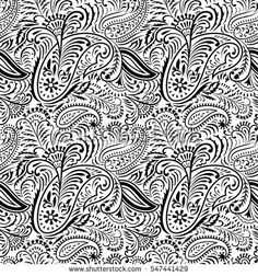 Seamless black and white  Floral and paisley Pattern