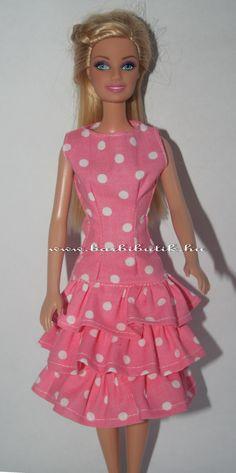 01f49a8c4d Rózsaszín fehér pöttyös fodros barbie ruha./ Pink polka dot Barbie dress.
