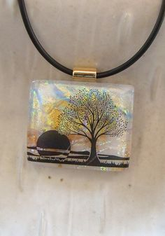 Fused Dichroic Glass Pendant Necklace