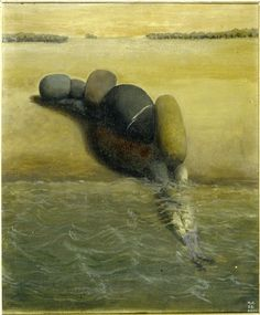 bildwerk:   Meret Oppenheim (Swiss, 1913-1985), Steinfrau (Stone Woman), 1938. Öl auf Karton, 58 x 48cm.