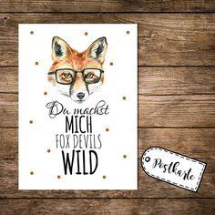 Humor - Postkarte postcard Fuchs fox devils wild p59 - ein Designerstück von IlkaParey bei DaWanda