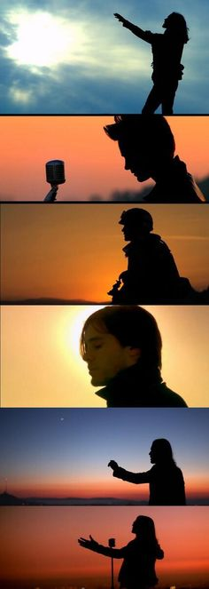 Silhouette shots of Jared in 30 Seconds To Mars' videos.
