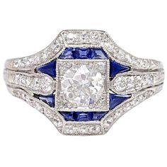 Anillo en diamantes y zafiros