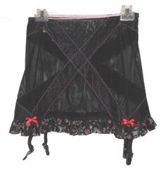 Garter Skirt Belt, Cameo Intimates Lingerie, Sheer ruffles stretch 32 34 #CameoIntimatesLingerie