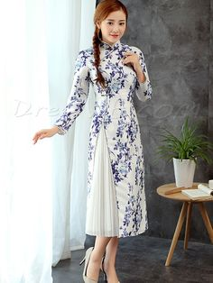 Buy Super Quality Long Sleeves Daily Wear A-Line Cheongsam Dress  Online, Dresswe.Com offer high quality fashion,Price: USD$163.29