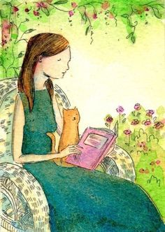 Cat and woman reading in a garden. Watercolour by Nicole Wong