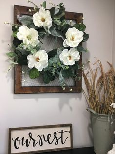 Magnolia wreath farmhouse wreath fixer upper wreath farmhouse decor wreath for mirror fall fron Magnolia Mom, Magnolia Wreath, Farmhouse Style Decorating, Farmhouse Decor, Farmhouse Ideas, Farmhouse Design, Modern Farmhouse, My Living Room, Living Room Decor