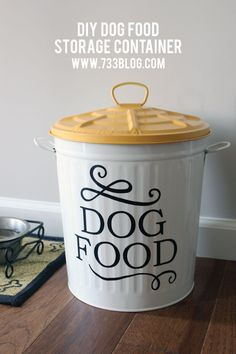 Looking for a pretty container for Dog Food Storage? Look no further than this adorable DIY version!