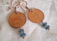 Repurposed 2000 Canadian Penny Earrings with Blue Vitrial Crystals - souvenirs, copper, turn of century, anniversary, birthday, personalised by etceterahandcrafted on Etsy