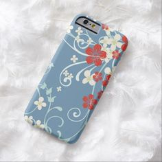 iPhone 6 Cases | Vintage Floral - Beautiful Wedgwood Blue and Red iPhone 6 Case