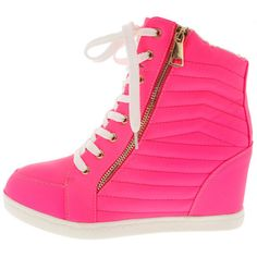 PAOLA NEON PINK QUILTED SNEAKER WEDGE BOOT ($13) ❤ liked on Polyvore featuring shoes, sneakers, quilted sneakers, quilted flats, wedge sneakers, wedge heel shoes and flat pumps