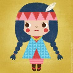 A little Indian Skookum Doll by flora chang | Happy Doodle Land