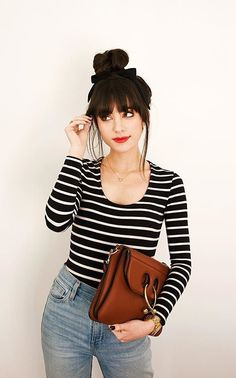 On days I don't know what to wear, stripes and a top knot seem to do the trick… – Hair Styles Look Fashion, Fashion Models, Fashion Beauty, Fashion Outfits, Mode Style, Style Me, How To Style Bangs, Looks Chic, Hairstyles With Bangs