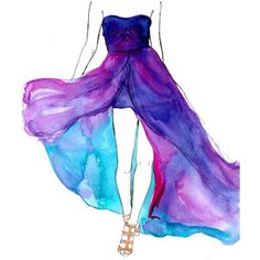 water color fashion | Original Watercolor and pen fashion illustration by Jessica Durrant ti ...