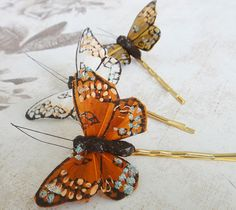 Whimsical Autumn Butterflies Hair Pins $15