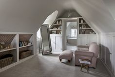 Interior design for elegant, contemporary English living. At Sims Hilditch, we pride ourselves on offering a service that is so much more than interior… Attic Bedroom Storage, Attic Rooms, Bedroom Loft, Attic Closet, Attic Spaces, Small Spaces, Loft Conversion Dressing Room, Loft Conversion Bedroom, Loft Conversion With Balcony