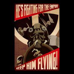 Camiseta Star Wars. Fighting for the Empire Camiseta inspirada en el universo Star Wars, con la imagen de un póster estilo vintage donde aparece un piloto Tie Fighter.