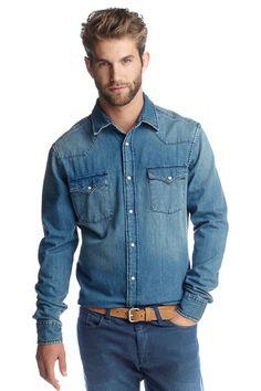 Chemise jeans denim homme
