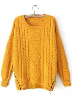 Yellow Long Sleeve Zipper Loose Cable Knit Sweater US 32.79 Купони 2f1de0281006d