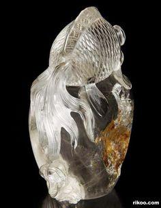 "3.3 "" Carved Quartz Rock Crystal Goldfish Sculpture, Stone origin : Brazil. Via rikoo.com ( back view )"