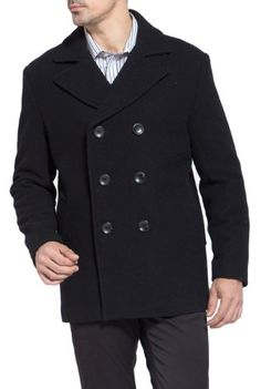 BGSD Men's Wool Pea Coat Warm wool blend pea coat is shaped in a classic double-breasted cut. Single-button cuffs complete the tailored style. Navy Pea Coat, Mens Winter Coat, Jacket Dress, Double Breasted, Wool Blend, Mens Fashion, Clothes, Wool Coats, Men's Coats