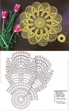 Free Crochet Doily Patterns, Granny Square Crochet Pattern, Crochet Mandala, Crochet Chart, Crochet Motif, Crochet Doilies, Crochet Stitches, Crochet Furniture, Crochet Chicken